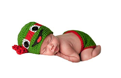 (Infant Newborn Baby Boy Girl Crochet Costume Outfits Photography Props Teenage Mutant Ninja Turtles Hat+Pant 0-6)