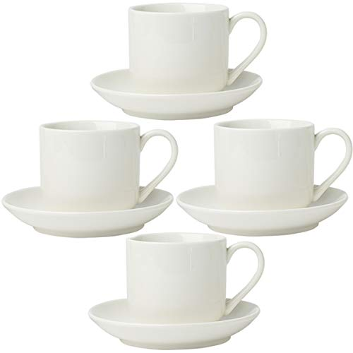 4oz. Espresso Cups Set of 4 with Matching Saucers - Premium White Porcelain, 8 Piece Gift Box Demitasse Set - Italian Caffè Mugs, Turkish Coffee Cup - Lungo Shots, Dopio ()