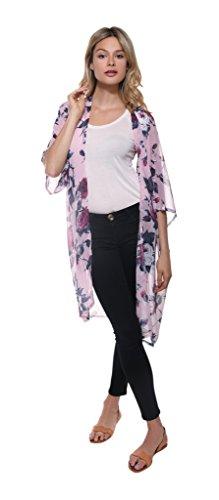 Lulla Collection Women's Sheer Pink Floral Print Kimono