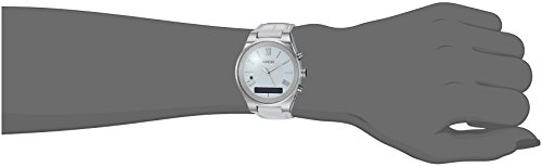 GUESS-Womens-CONNECT-Smartwatch-with-Amazon-Alexa-and-Genuine-Leather-Strap-Buckle-iOS-and-Android-Compatible-Silver