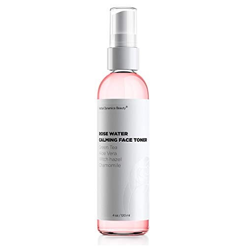 HD Beauty Rose Water Hydrating Face Toner Mist with Calming Aloe, Hyaluronic Acid and Organic Anti-Aging Ingredients, 4 oz. ()