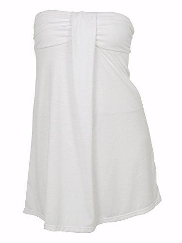 Hula Honey Women's Strapless Dress Cover ups (XL, White)