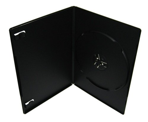 7mm Slim Single DVD Cases, Matte Black, 100 Pack Prem Matte