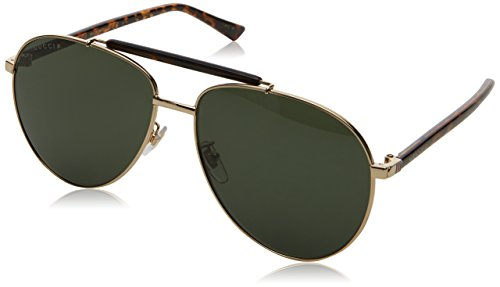 Gucci Men GG0014S 60 Gold/Green Sunglasses - Gucci Unisex Sunglasses