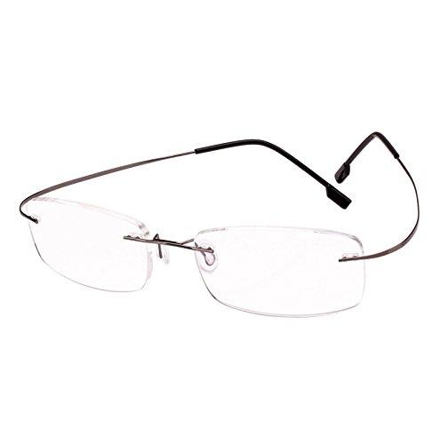 Beison Memory Titanium Stainless Steel Rimless Flexible Reading Glasses (Grey, 2.5)