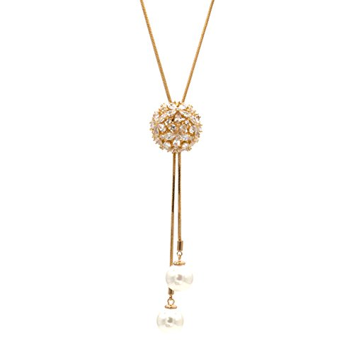 Clear CZ Ball Lariat Y-Shaped Necklace Globe 4d Long 35