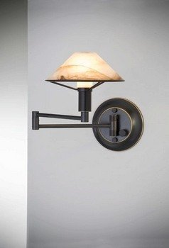 Holtkotter 9426 HBOB ABR One Light Swing Arm Wall Sconce, Hand Brushed Old Bronze Finish with Alabaster Brown Glass