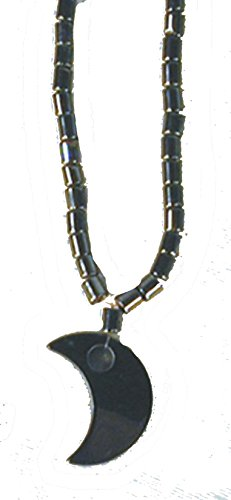 Black Hematite Natural Healing Stone Necklace with Crescent Moon Pendant - Hemitite Stone