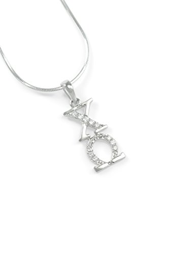 Omega Lavaliere - The Collegiate Standard Chi Omega Sterling Silver Lavaliere with Czs