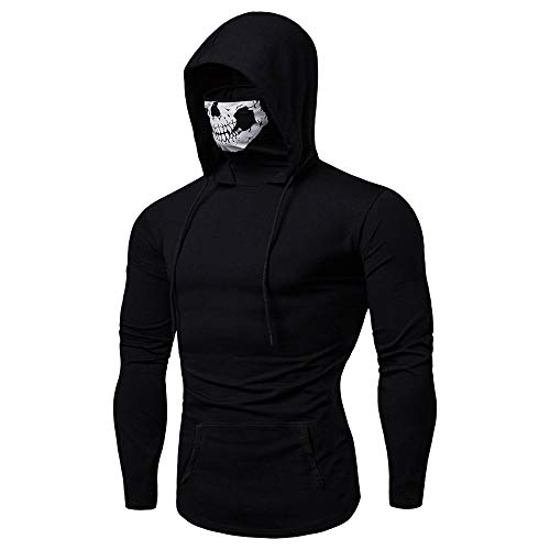 (Realdo Mens Hoodie, Mens Skull Mask Pullover Casual Solid Zip Long Sleeve Hooded Sweatshirt Tops)