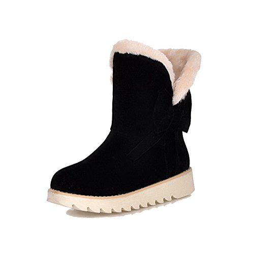 AllhqFashion Mujeres Sin cordones Mini Tacón Gamuza(Imitado) Caña Baja  Nieve Botas Negro