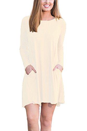 90 S Dress (XUERRY Women Long Sleeve Pockets Swing Casual T-shirt Dress(S,Beige))