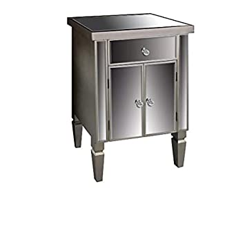 Antique Silver Venetian Mirrored Bedside Table Small Sideboard Lamp - Venetian glass bedroom furniture