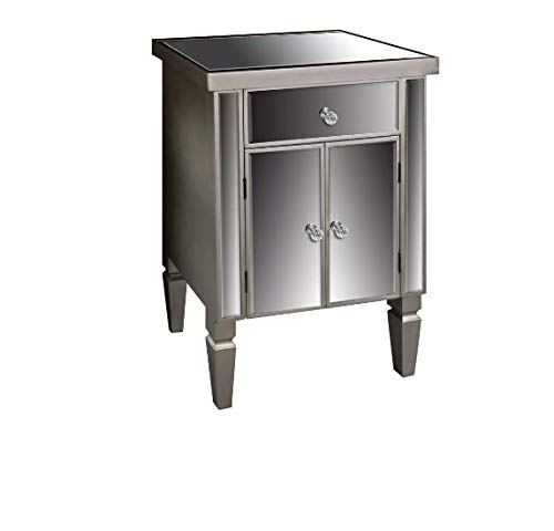 Antique Silver Venetian Mirrored Bedside Table Small Sideboard Lamp Plant Telephone Stand Glass Bedroom Living Room Furniture Modern Contemporary Storage Chest Cabinet Unit With 1 Drawer 2 Doors Cupboard Free Fast Delivery Buy