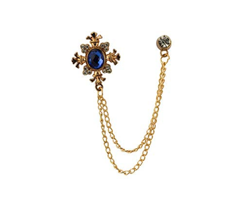 (Knighthood Royal Blue Shimmer Stone with Rose Gold Engraving Hanging Chain and Swarovki Detailing Brooch Lapel)