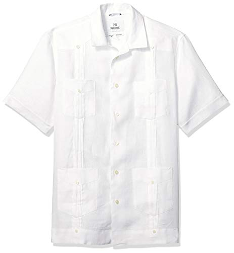 28 Palms Men's Relaxed-Fit Short-Sleeve 100% Linen 4-Pocket Pleated Guayabera Shirt, White, Small