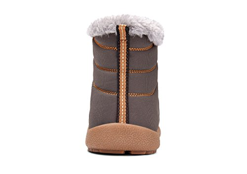 Sanyge Men's Fully Fur Lined Snow Boots Waterproof Warm Ankle Boot Non-Slip Winter Shoes High Top(Sanyge6822Grey44) by Sanyge (Image #3)