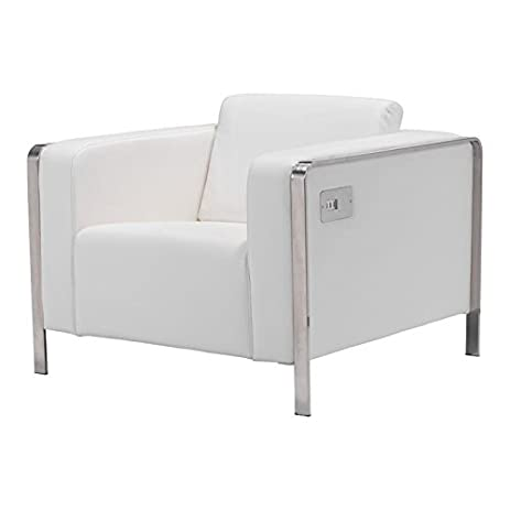 Brika Home Faux Leather Armchair In White