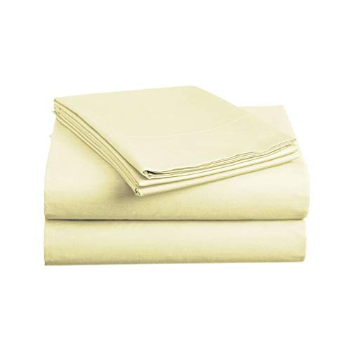Luxe Bedding Sets - Microfiber Full Sheet Set 4 Piece Bed Sheets, Pillow Cases, Flat Sheet, Deep Pocket Fitted Sheet Set Full Size - Vanilla