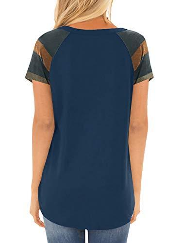 Rond Block Amoretu Courtes Manches Poche Col Femmes Tops Tuniques Bleu Color Chemise wYYIx7q
