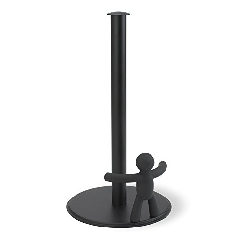 Umbra Buddy Paper Towel Holder With Fun & Functional Design - Original Molded Soft Touch Black Kitchen Paper Tug - Provides One-Handed Tearing Keeps Paper Towels Handy & Tidy and - Holder Paper Towel Black