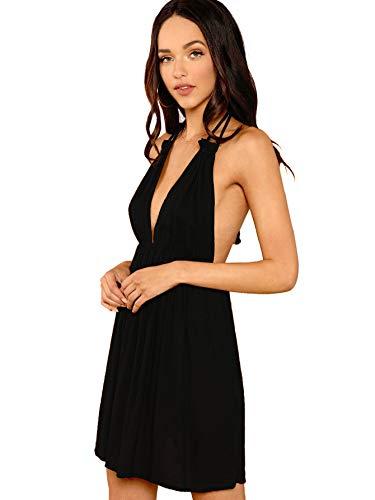 SheIn Women's Sexy Halter Deep V Neck Backless A Line Flared Dresses X-Small Black Deep V-neck Halter Dress