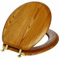 Mayfair 9601BR-378 Natural Reflections Veneer Toilet Seat with Brass Hinges, Round, Natural Oak by Mayfair