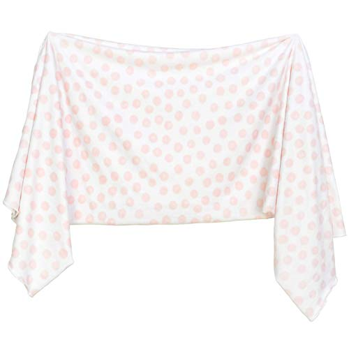 Extra Soft Knit Swaddling Receiving Blanket Blush Dottie by Village Baby]()