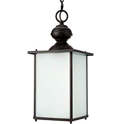 Rubbed Bronze Outdoor Hanging Light for Porch Pendant Light, Lamomo Black Dining Ceiling Light Fixture Outdoor Farmhouse Hanging Light,Water-Proof Exterior Lantern with Blasting Glass Light Bulb