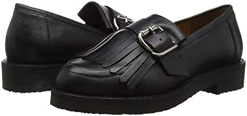 Black Fisher Women''s black 00078 Leather Loafers Office BqOSw