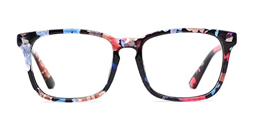 TIJN Stylish Women's Floral Glasses Square Frame Non-Prescription Clear Lens Eyeglasses