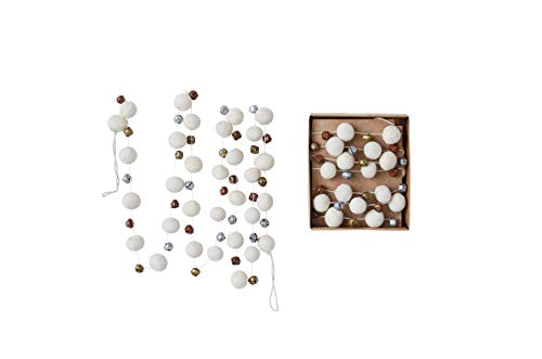 (Creative Co-Op 72 Inch Wool Felt Garland with Pom Poms & Bells, Cream)