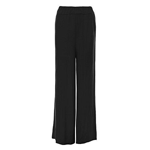 Oops Outlet -pantalons femmes Baggy Palazzo leggings taille grande - noir pantalons viscose élastique large, M/L 40/42