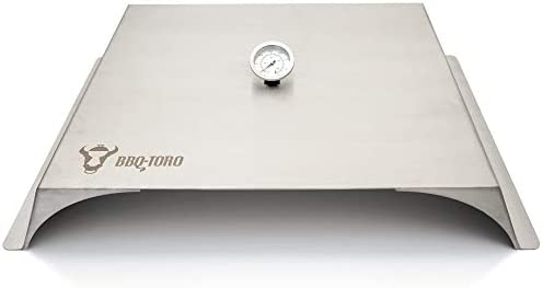 BBQ-Toro - Four à pizza pour barbecue à gaz - Acier inoxydable - 56 x 39 cm - Couvre-pizza avec thermomètre - Sans accessoires