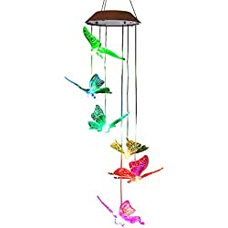 FC-Fancier Solar Wind Chimes, Color-Changing Solar LED, Mobile Wind Chime,LED Waterproof Wind Chimes For Home/Party/Night/Garden/Festival Decor/Garden Gift(butterfly)