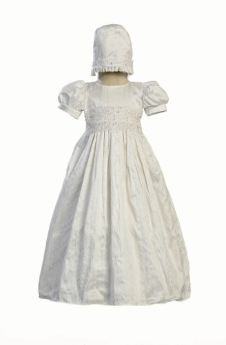 White Silk Christening Baptism Gown with Laced Bodice and Matching Hat - M (6-12 Month) -