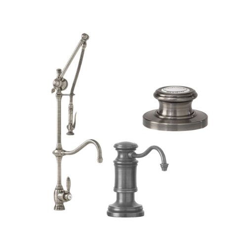 Waterstone 4400-3-SN Annapolis Kitchen Faucet Single Handle with Pull Out Spray and Soap/Lotion Dispenser and Air Switch 3PC, Satin Nickel