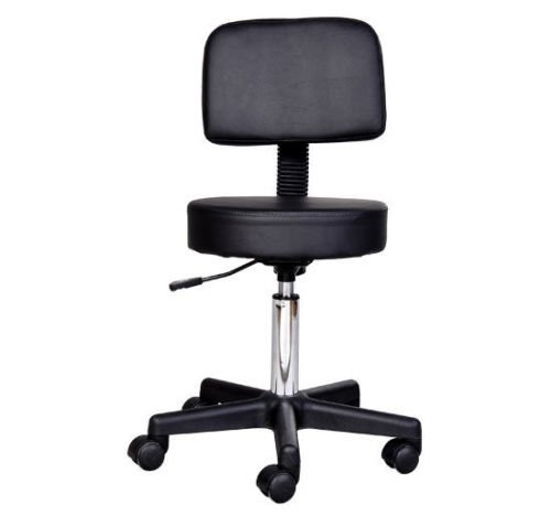 Leather Faux Tattoo (HOMCOM Adjustable PU Leather Rolling Stool Salon Chair - Black)