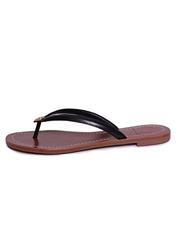 Tory Burch Terra Leather Thong Sandal, Black - Black Tory