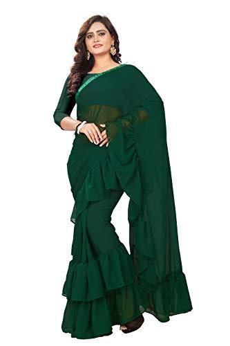 Jaanvi fashion Women's Ruffle Georgette Saree (Ruffle-Bottle-Green)