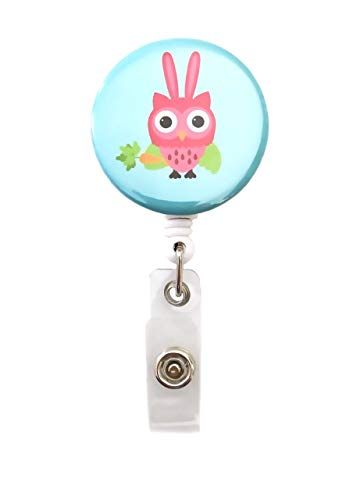 Holiday Owls Retractable Badge Reel ID Badge Holder (Easter)