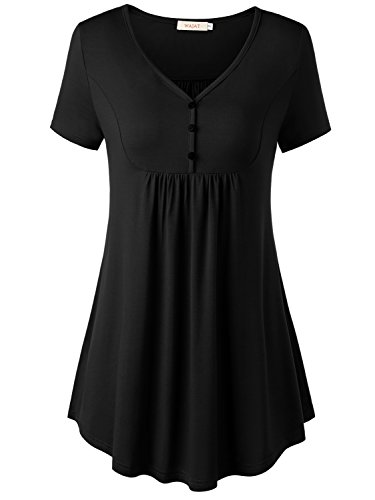 Wajat Womens Short Sleeve V Neck Front Pleated Flared Comfy Loose Tunic Top Black 2Xl