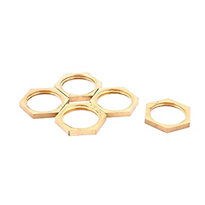 uxcell® 1/2BSP Female Thread Brass Pipe Fitting Hex Lock Nut 5pcs