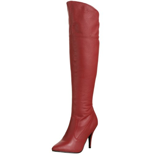 Pleaser VANITY-2013 Red Leather Size UK 6 EU 39