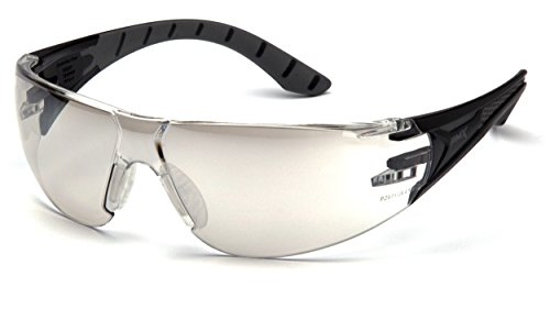Pyramex Endeavor Plus Durable Safety Glasses, Black/Gray Frame, Indoor/Outdoor Mirror Lens