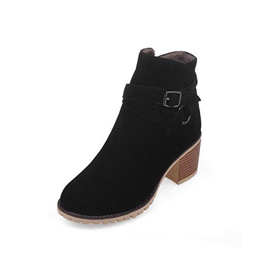 AgooLar Women's Round Closed Toe Solid Low Top Kitten Heels Boots Black g9Jsm1zLb