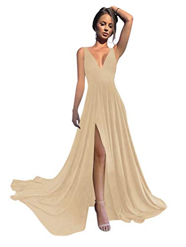 VinBridal V-Neck Backless Long Slit Side Beach Wedding Bridesmaid Dresses Champagne 8