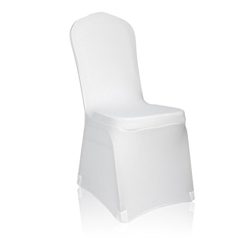 EMART Set of 50pcs White Color Polyester Spandex Banquet Wedding Party Chair Covers