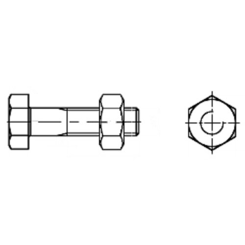 /QB DIN 601/Hexagonal Screws with Shaft Aparoli SJA/ /36182/ Galvanised 20X480/Pack of 10/Quality: Basic 4.6