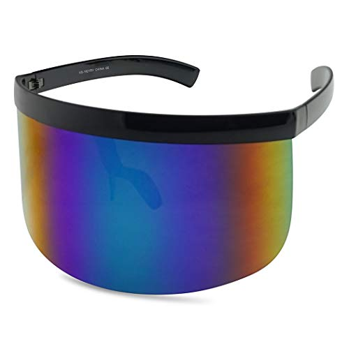 Extra Large Mask Cover Shield Visor Style Sunglasses W/Flash Mirrored Mono Lens (Matte Black, Blue Mirror)